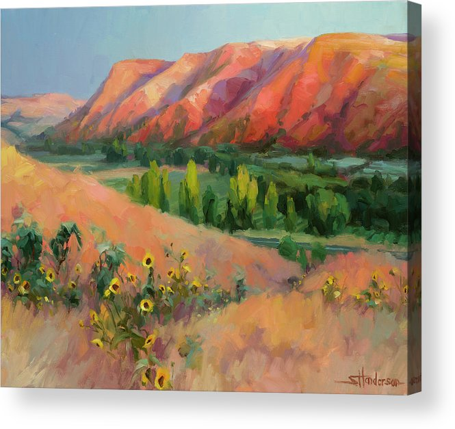Landscape Acrylic Print featuring the painting Indian Hill by Steve Henderson