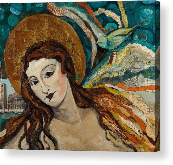 Figure Acrylic Print featuring the mixed media Lady With Bird by Michele Norris
