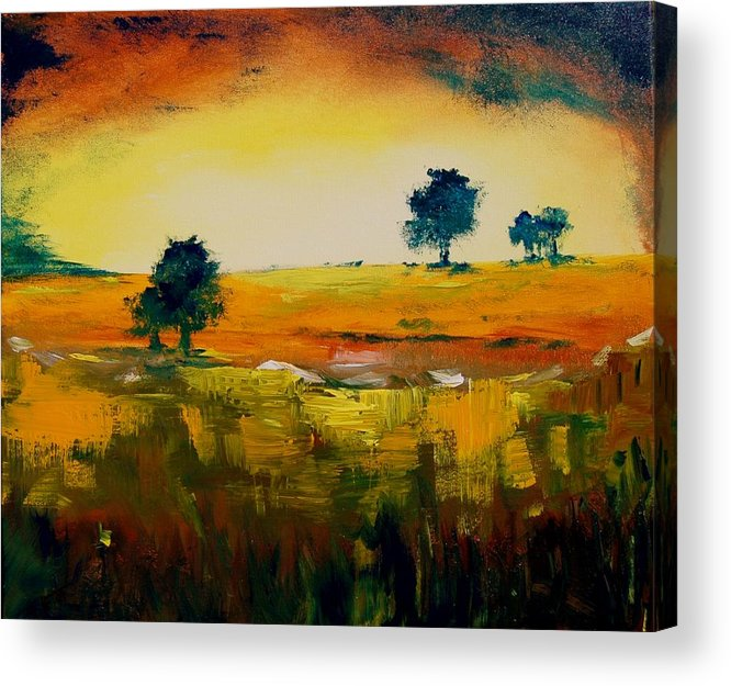 Pond Acrylic Print featuring the painting Landscape 22 by Veronique Radelet