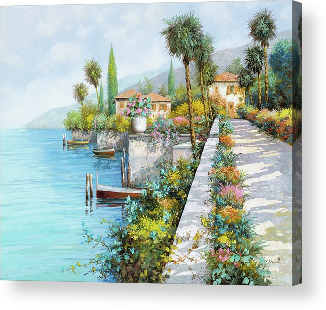 Lake Acrylic Print featuring the painting Lungolago by Guido Borelli
