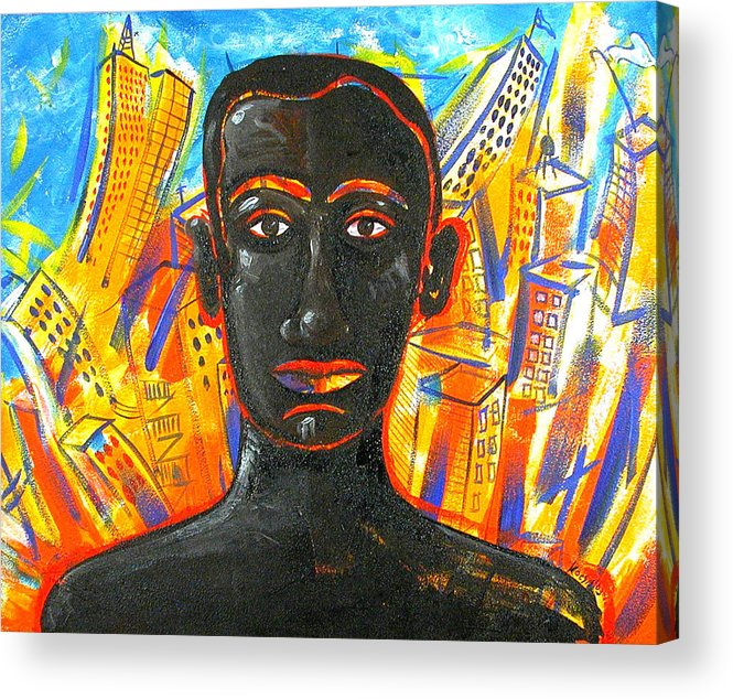 Man Acrylic Print featuring the painting Man And The City by Rollin Kocsis