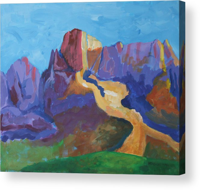 Landscape Acrylic Print featuring the painting Mauve Catalina by Mordecai Colodner