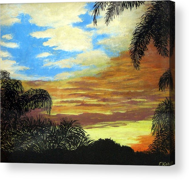 Sunrise-sunset Painting Acrylic Print featuring the painting Morning Sky by Frederic Kohli