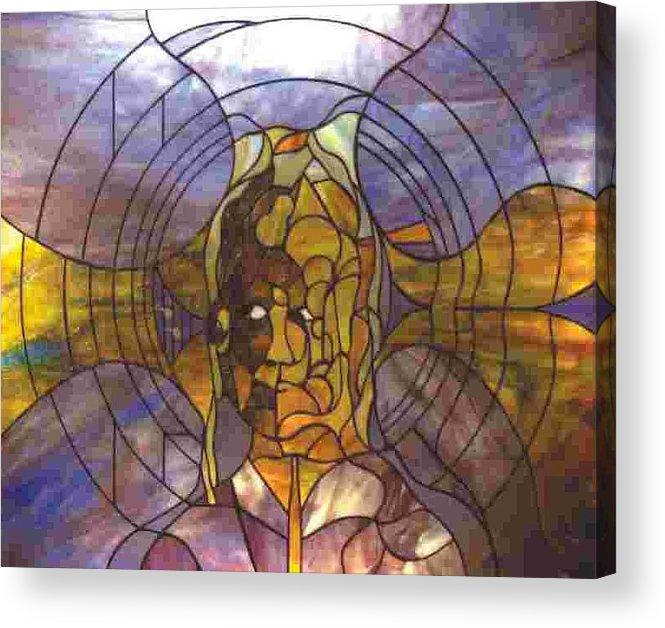 Portrait Acrylic Print featuring the glass art Music by Greg Gierlowski