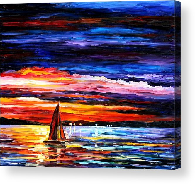 Seascape Acrylic Print featuring the painting Night Sea by Leonid Afremov