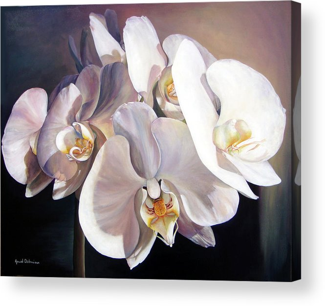 Floral Painting Acrylic Print featuring the painting Orchidee by Muriel Dolemieux