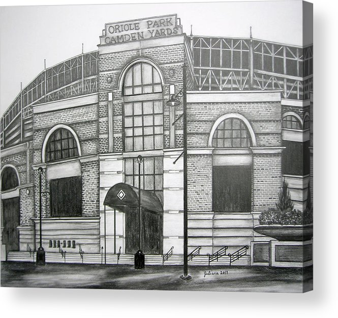 Camden Yards Acrylic Print featuring the drawing Oriole Park Camden Yards by Juliana Dube