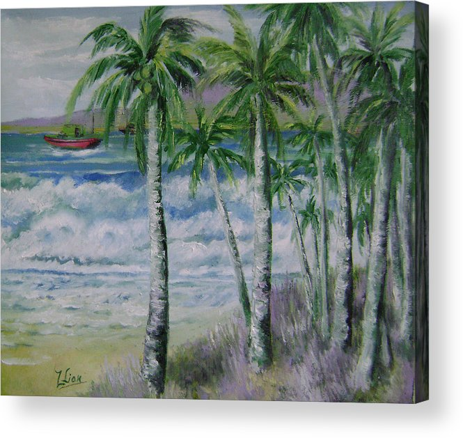 Landscape Acrylic Print featuring the painting Palm Beach by Lian Zhen