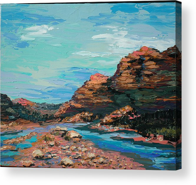 Landscape Acrylic Print featuring the painting Palma Canyon by Cathy Fuchs-Holman