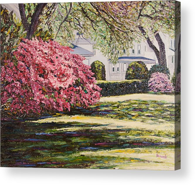 Park Acrylic Print featuring the painting Park Spring Blossom With Shadows by Richard Nowak