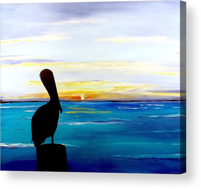 Sunset Painting Acrylic Print featuring the painting Pelican Bay by Carol Blackhurst
