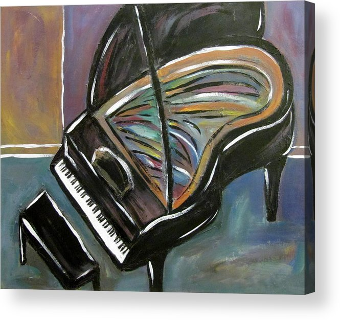 Impressionist Acrylic Print featuring the painting Piano With High Heel by Anita Burgermeister