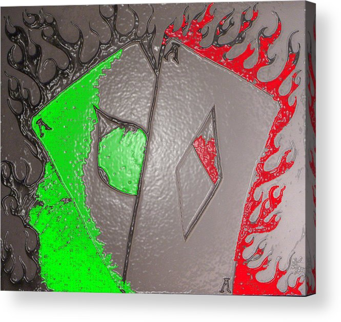Aces Acrylic Print featuring the drawing Plastice Aces by Chad Taber
