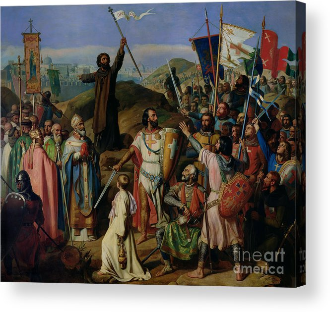 Procession Acrylic Print featuring the painting Procession Of Crusaders Around Jerusalem by Jean Victor Schnetz