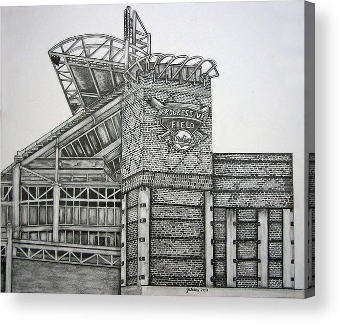 Progressive Field Acrylic Print featuring the drawing Progressive Field by Juliana Dube