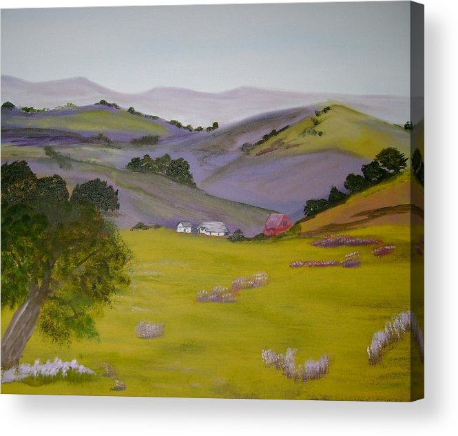 Landscape Acrylic Print featuring the painting Purple Hills by Dottie Briggs
