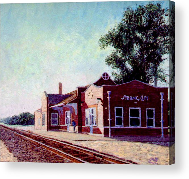 Original Oil On Wood Panel Acrylic Print featuring the painting Railroad Station by Stan Hamilton