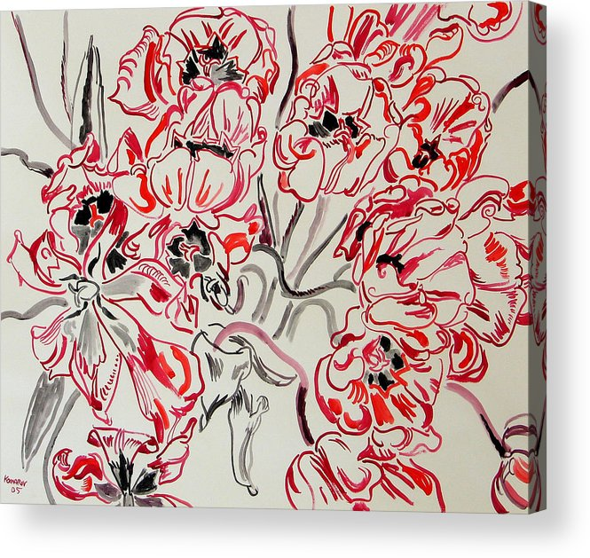 Red Acrylic Print featuring the painting Red Tulips by Vitali Komarov