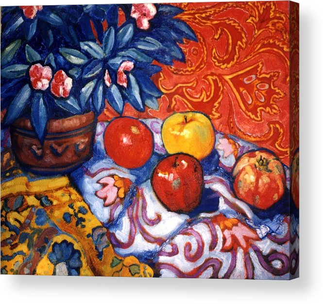 Still Life Acrylic Print featuring the painting Red Wallpaper by Paul Herman
