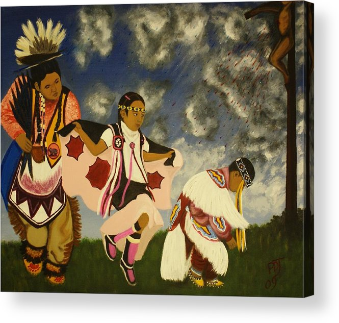 War Dance Acrylic Print featuring the painting Reign Dance by Pamorama Jones