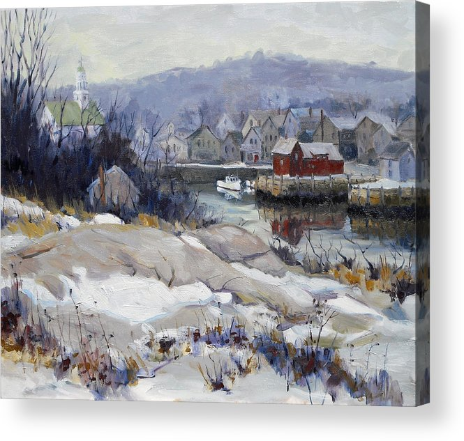 Motif 1 Motif Acrylic Print featuring the painting Rockport Harbor In Winter by Chris Coyne