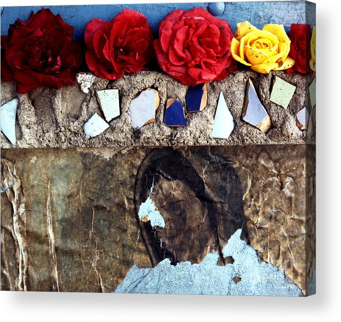 Virgin_mary Acrylic Print featuring the photograph Roses On A Shrine by Lawrence Costales