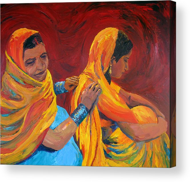 India Acrylic Print featuring the painting Ruppa by Art Nomad Sandra Hansen