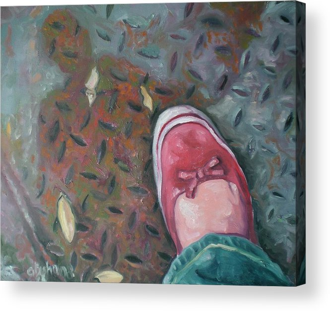 Acrylic Print featuring the painting Selfportrait Red Shoe by Aleksandra Buha