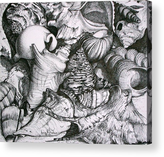 Black And White Acrylic Print featuring the painting Shells by Anne Rhodes