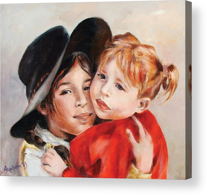 Portrait Acrylic Print featuring the painting Sisters by Ekaterina Mortensen