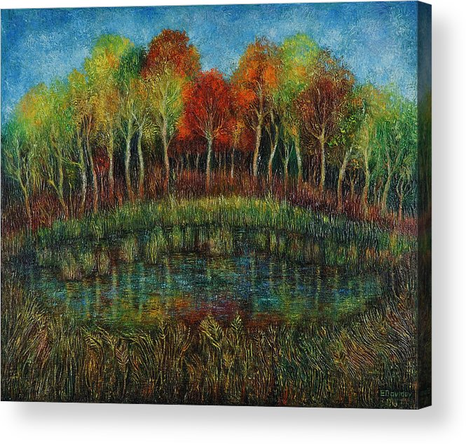 Landscape Acrylic Print featuring the painting Small Lake. by Evgenia Davidov