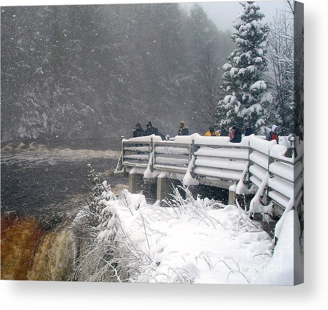 Tahquamenon Falls Acrylic Print featuring the photograph Snowstorm At The Falls by Scott Heister