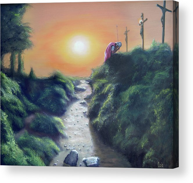 Cross Acrylic Print featuring the painting Soldier At The Cross by Larry Cole