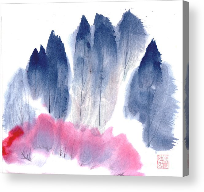 A Forest With Red Blooming Bushes In Spring. This Is A Contemporary Chinese Ink And Color On Rice Paper Painting With Simple Zen Style Brush Strokes.  Acrylic Print featuring the painting Spring Forest by Mui-Joo Wee