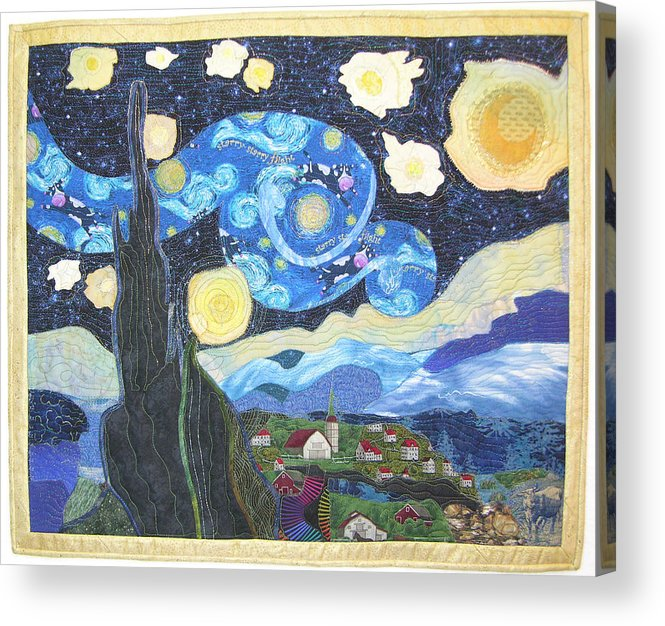 Van Gogh Acrylic Print featuring the tapestry - textile Starry Flight by Salli McQuaid