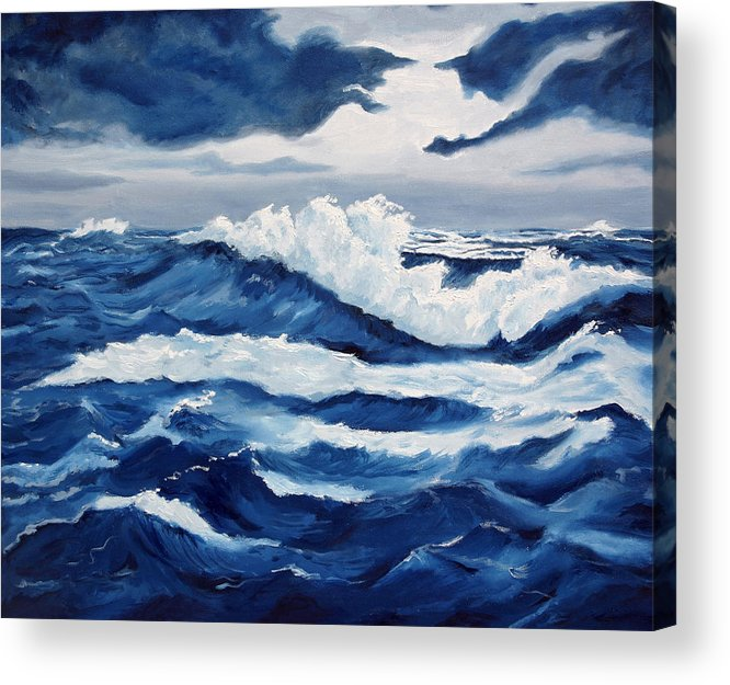 Sea Scapes Acrylic Print featuring the painting Storm At Sea by Lorraine Foster