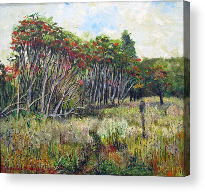 Fall Acrylic Print featuring the painting Sumac Fall by Art Nomad Sandra Hansen