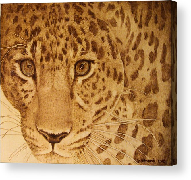 Jaguar; Sepia; Wild Life; Africa; Eyes; Zoo; Cat; Acrylic Print featuring the pyrography Take One Step Closer by Jo Schwartz