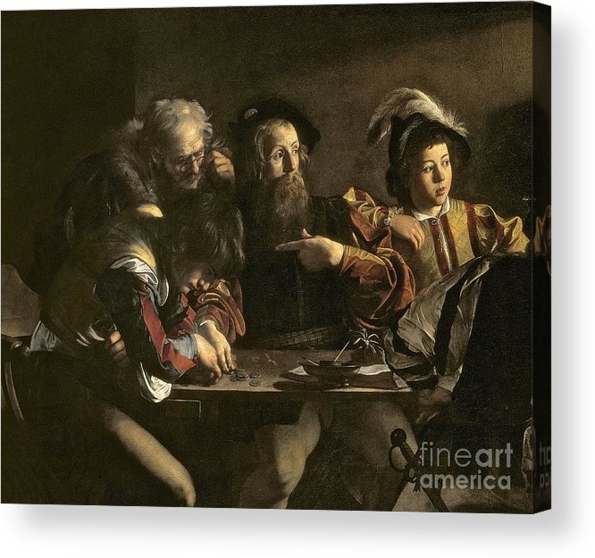 Chiaroscuro; Baroque; Interior; Table; Tax Collector; Saint; Apostle; Disciple; Pointing Acrylic Print featuring the painting The Calling Of St. Matthew by Michelangelo Merisi da Caravaggio