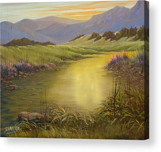 Landscape Acrylic Print featuring the painting The End Of The Day 070714-79 by Kenneth Shanika