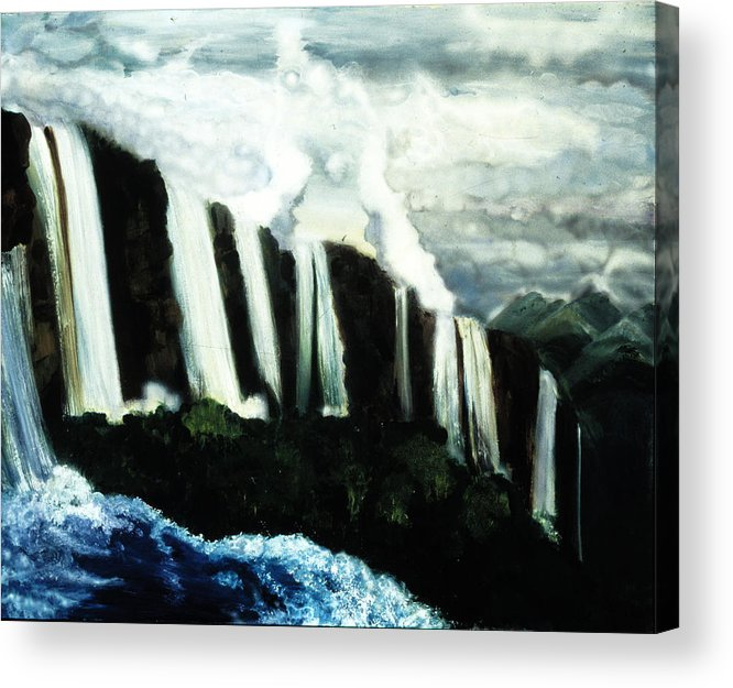 The Falls  Acrylic Print featuring the painting The Falls by Ione Citrin
