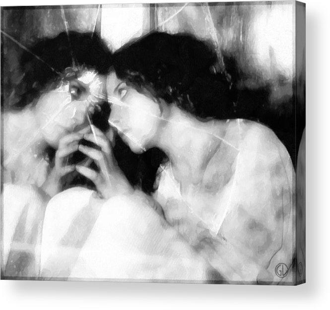 Girl Looking In Mirrow Acrylic Print featuring the digital art The Mirror Twin by Gun Legler
