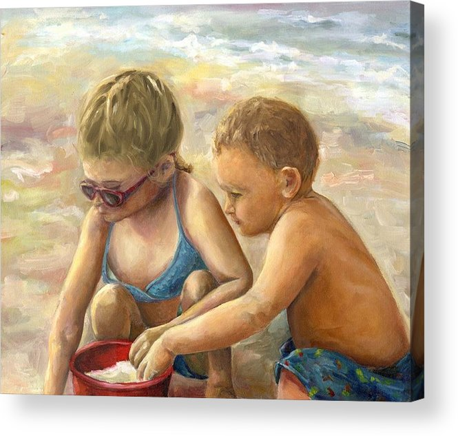 Portrait Acrylic Print featuring the painting The Red Sand Bucket by Linda Vespasian