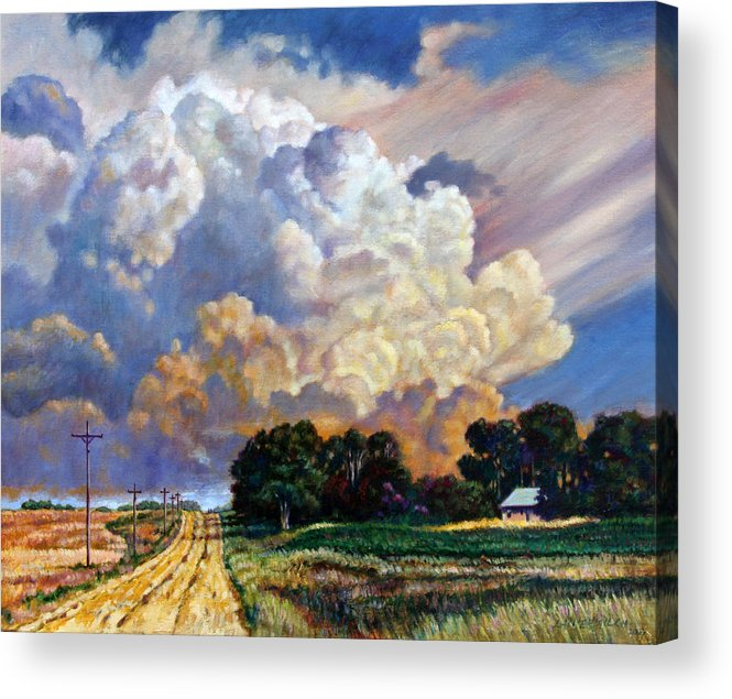 Landscape Acrylic Print featuring the painting The Road Home by John Lautermilch
