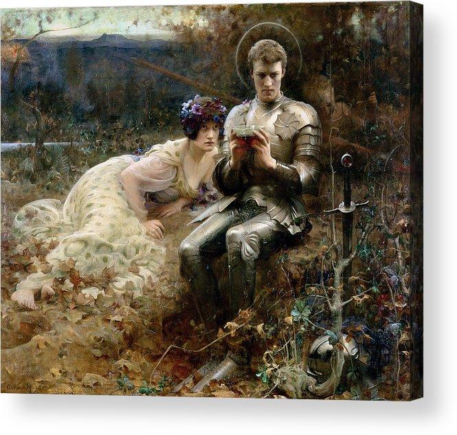 The Temptation Of Sir Percival Acrylic Print featuring the painting The Temptation Of Sir Percival by Arthur Hacker