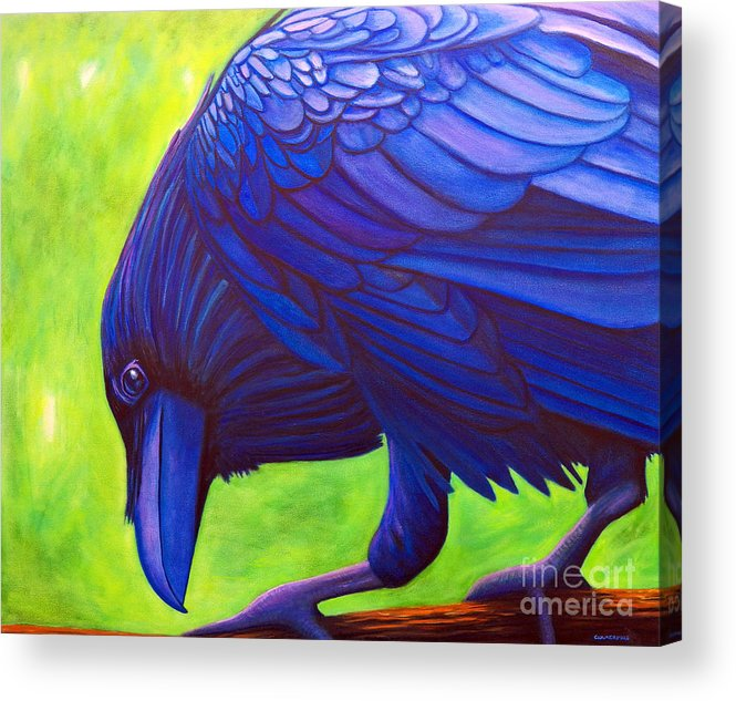 Raven Acrylic Print featuring the painting The Witness by Brian Commerford
