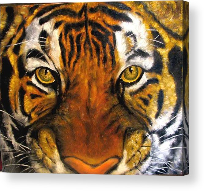 Tiger Acrylic Print featuring the painting Tiger Mask Original Oil Painting by Natalja Picugina