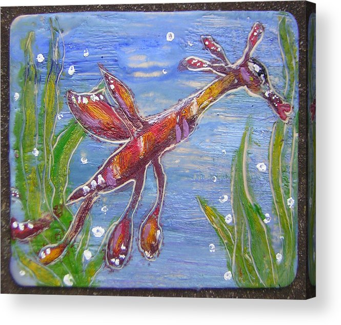 Sea Dragon Acrylic Print featuring the painting Tiny Anthropomorphic Sea Dragon 2 by Michelley QueenofQueens