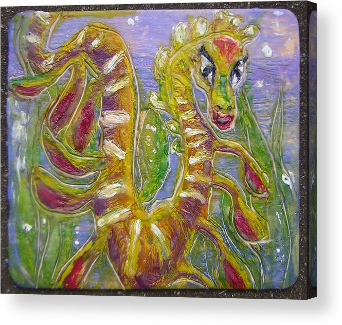 Sea Dragon Acrylic Print featuring the painting Tiny Anthropomorphic Sea Dragon 3 by Michelley QueenofQueens