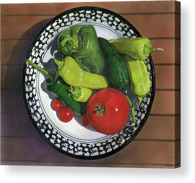 Still Life Painting Acrylic Print featuring the painting Tomatoes And Peppers by John Dyess